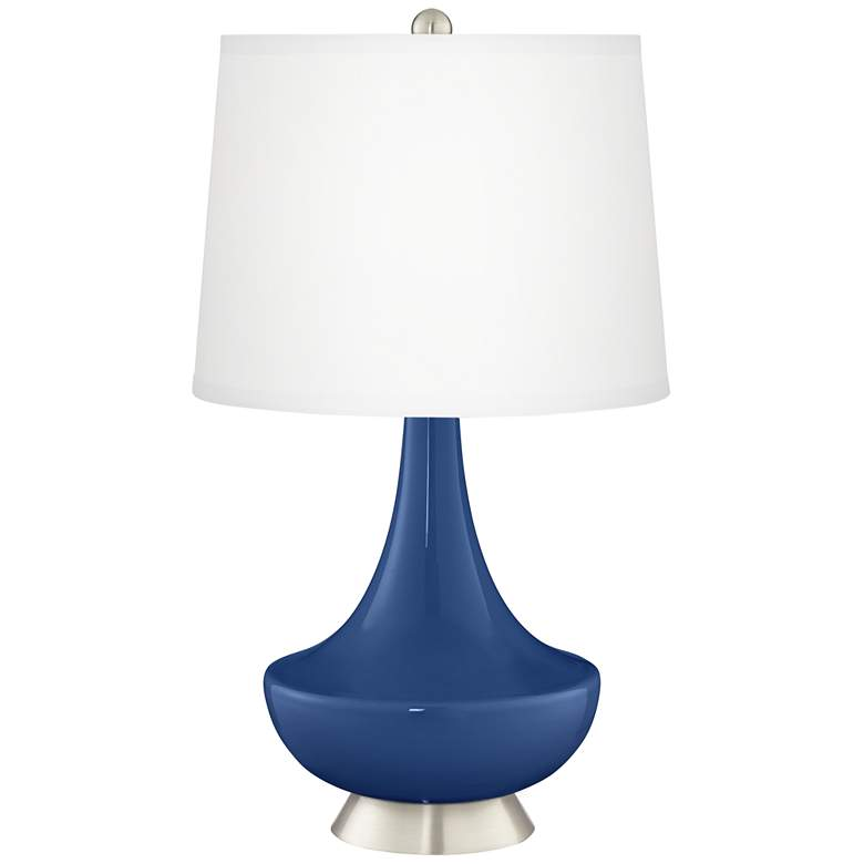 Monaco Blue Gillan Glass Table Lamp with Dimmer