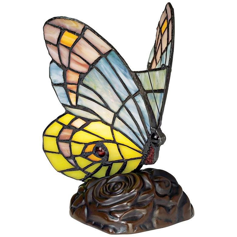 """Butterfly in Flight 7 1/2"""" High Tiffany-Style Accent Lamp"""