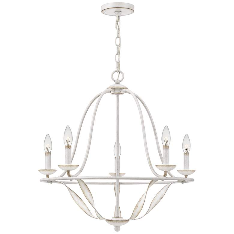 "Quoizel Bradbury 25"" Wide Antique White 5-Light Chandelier"
