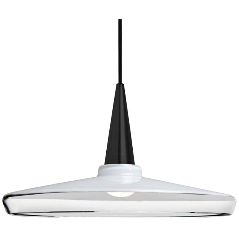 "Baron 14 13 3/4""W Black and White Glass LED Pendant Light"