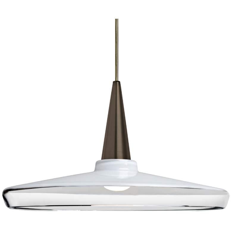 "Baron 14 13 3/4""W Bronze and White Glass LED Pendant Light"