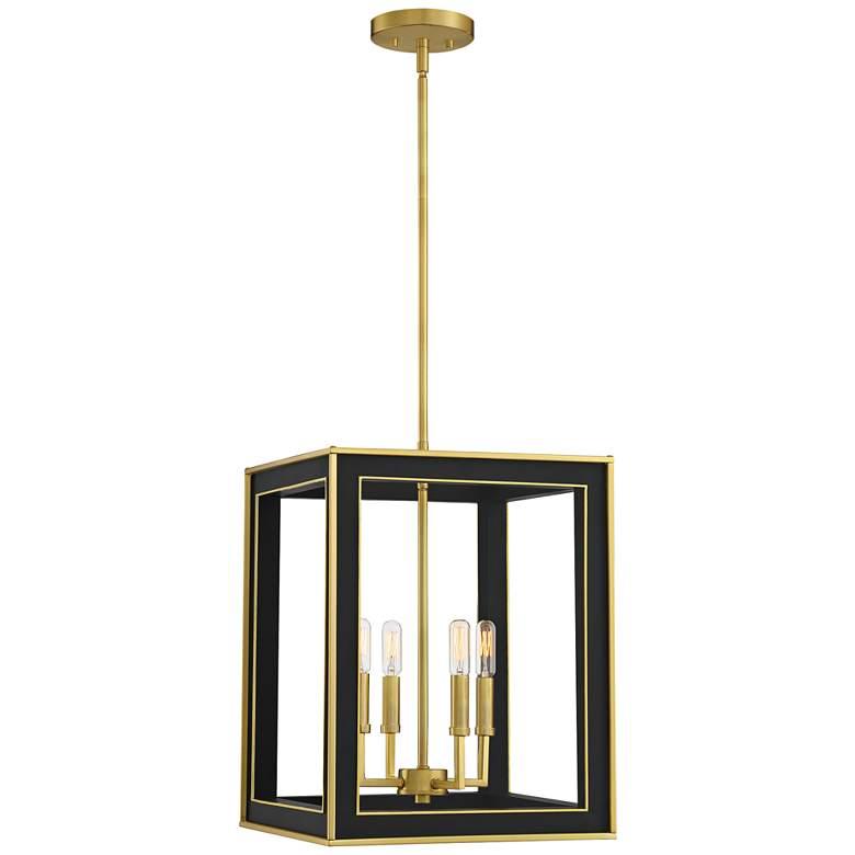 """Quoizel Burwell 14"""" Wide Matte Black 4-Light Foyer Pendant"""