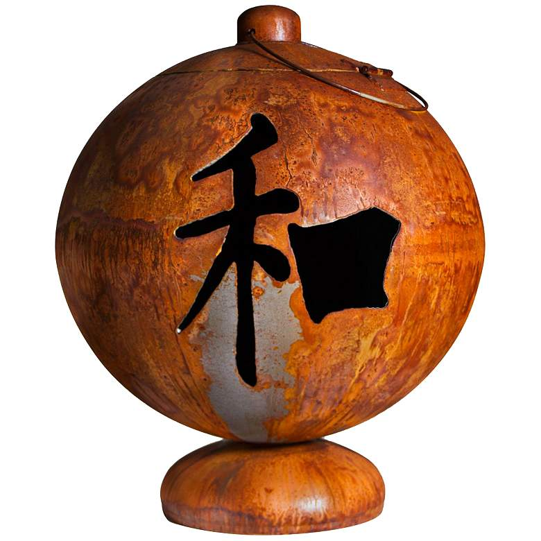 """Peace Happiness Tranquility 30"""" Wide Fire Globe"""