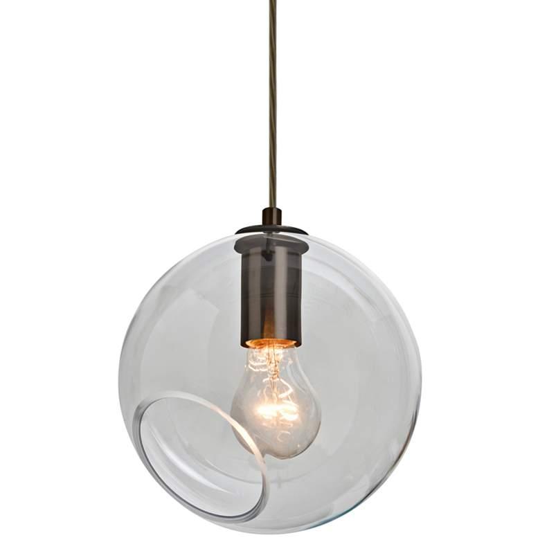 "Besa Maestro 8 8""W Bronze and Clear Glass Mini Pendant Light"
