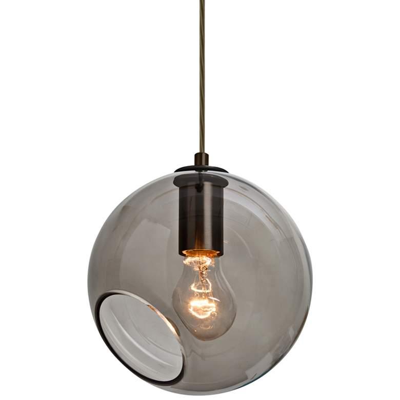 "Besa Maestro 8 8""W Bronze and Smoke Glass Mini Pendant Light"