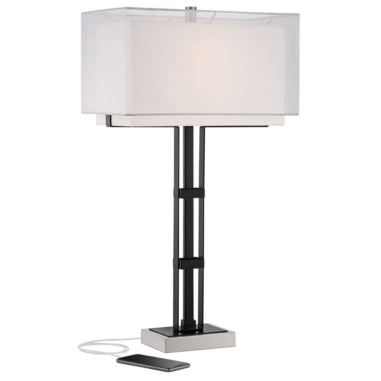 Jacky Modern Industrial Black Table Lamp with USB Port