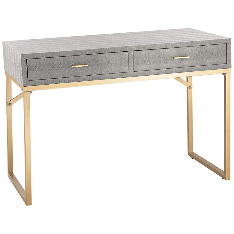 """Sands Point 42"""" Wide Gray and Gold 2-Drawer Desk"""