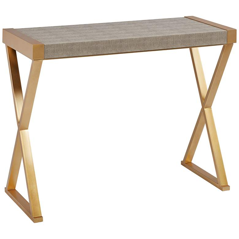 """Sands Point 39"""" Wide Gray and Gold Console Table"""