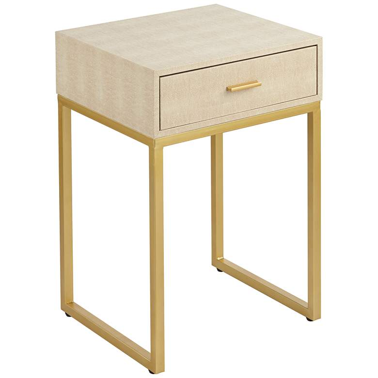 """Les Revoires 16"""" Wide Cream and Gold 1-Drawer Accent Table"""