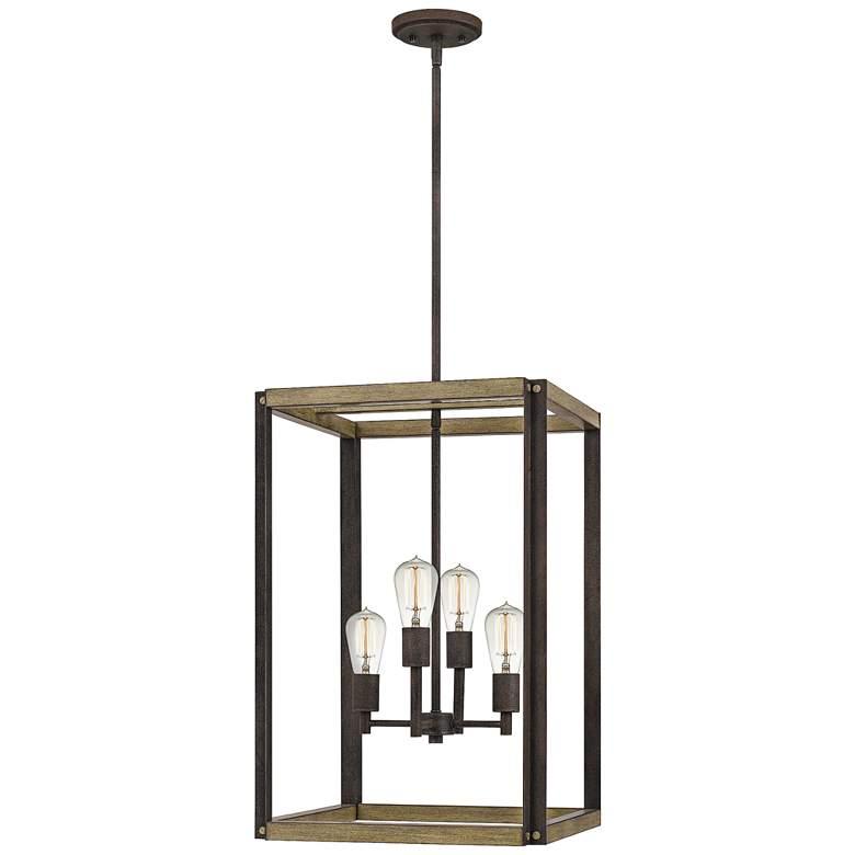 """Quoizel Finn 16"""" Wide Rustic Black 4-Light Foyer Pendant"""