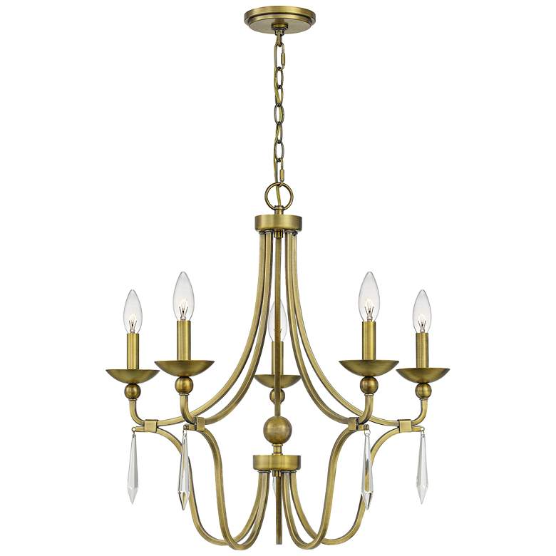 """Quoizel Joules 25"""" Wide Aged Brass 5-Light Chandelier"""