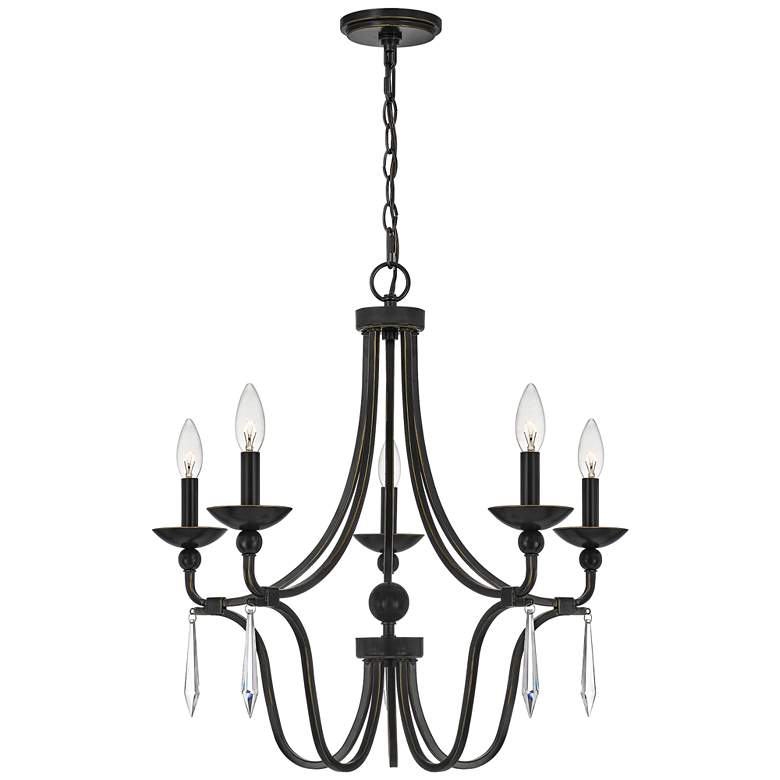 "Quoizel Joules 25"" Wide Palladian Bronze 5-Light Chandelier"
