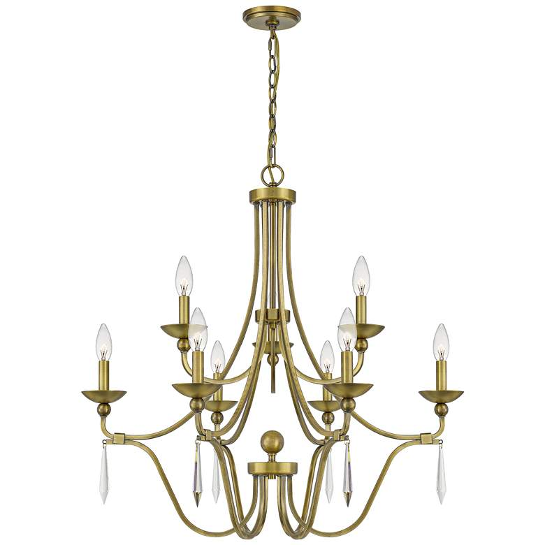 """Quoizel Joules 32"""" Wide Aged Brass 9-Light Chandelier"""