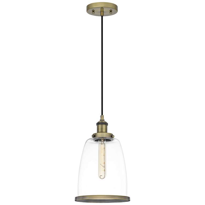 "Quoizel Leo 8""W Antique Brass and Clear Glass Mini Pendant"