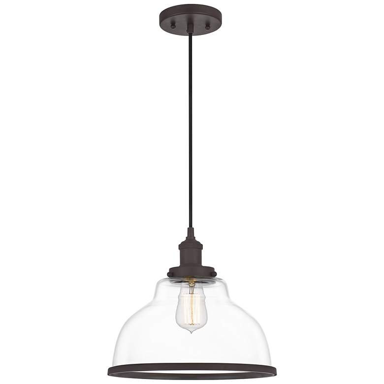 "Quoizel Leo 12"" Wide Old Bronze and Clear Glass Mini Pendant"