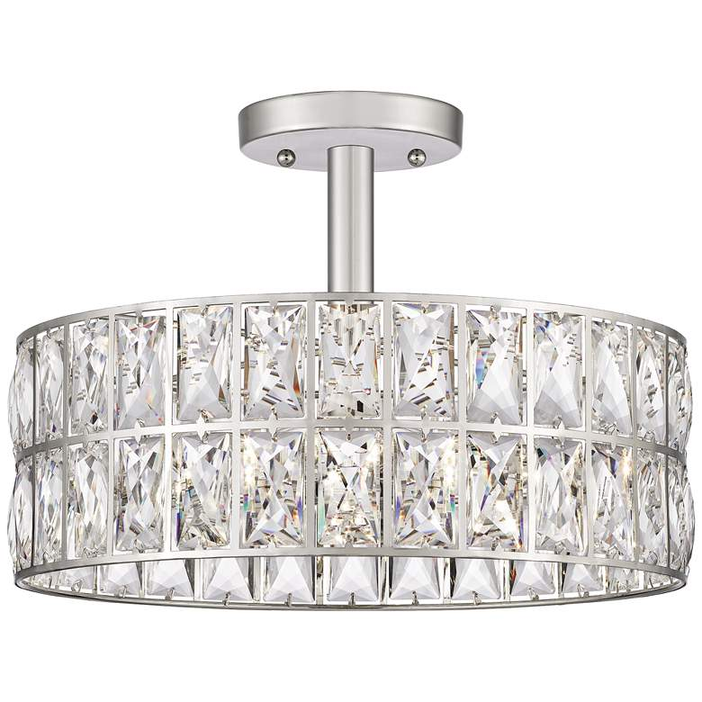 """Quoizel Coffman 14"""" Wide Polished Nickel Drum Ceiling Light"""