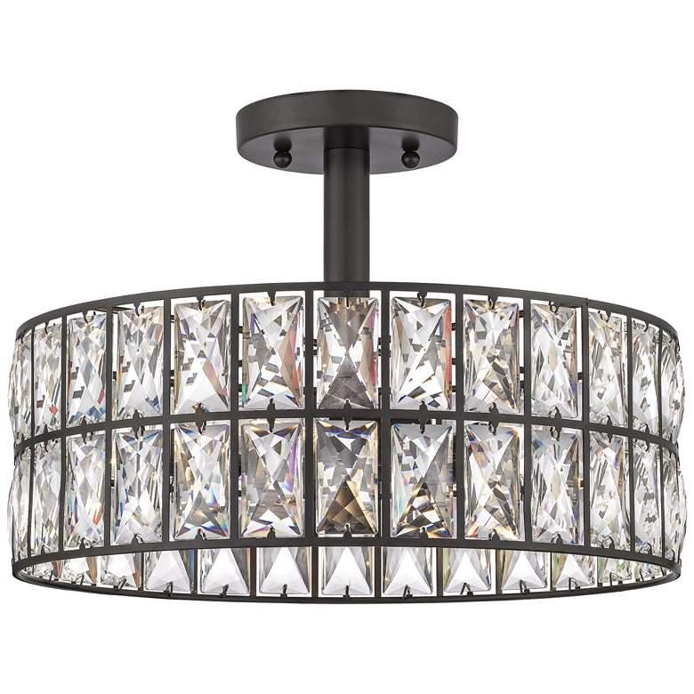 "Quoizel Coffman 14"" Wide Western Bronze Drum Ceiling Light"