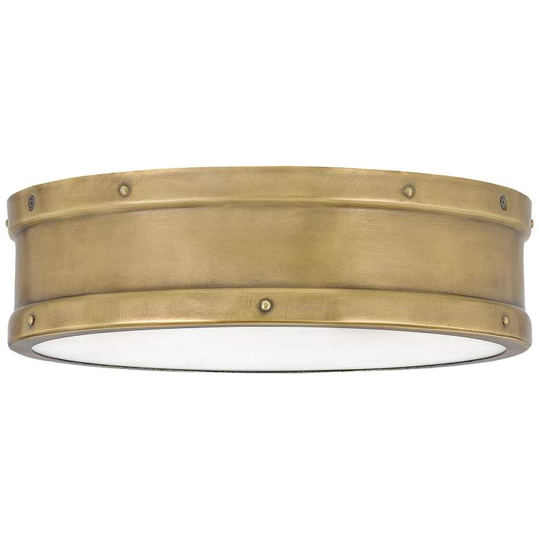 """Quoizel Ahoy 12 3/4"""" Wide Weathered Brass LED Ceiling Light"""