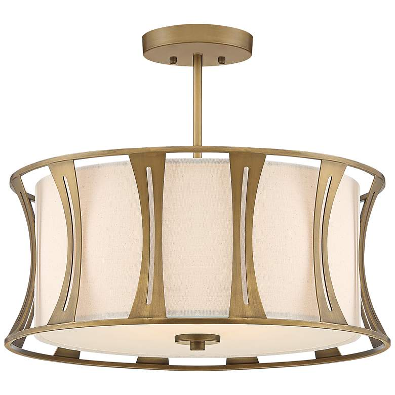 "Quoizel Woodmere 20"" Wide Egyptian Gold Drum Ceiling Light"