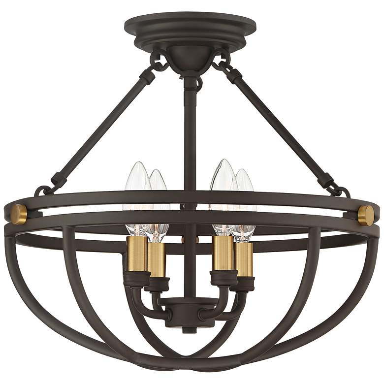 "Sergeant 15 3/4"" Wide Western Bronze 4-Light Ceiling Light"