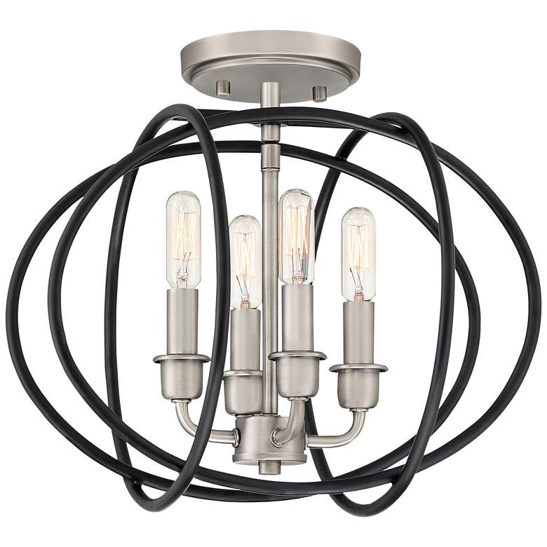 "Tupelo 13 3/4"" Wide Black and Nickel 4-Light Ceiling Light"