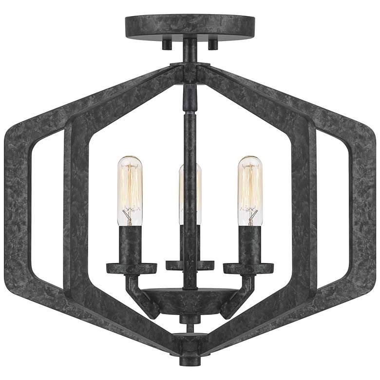 """Quoizel Vanguard 16"""" Wide Old Black 3-Light Ceiling Light"""