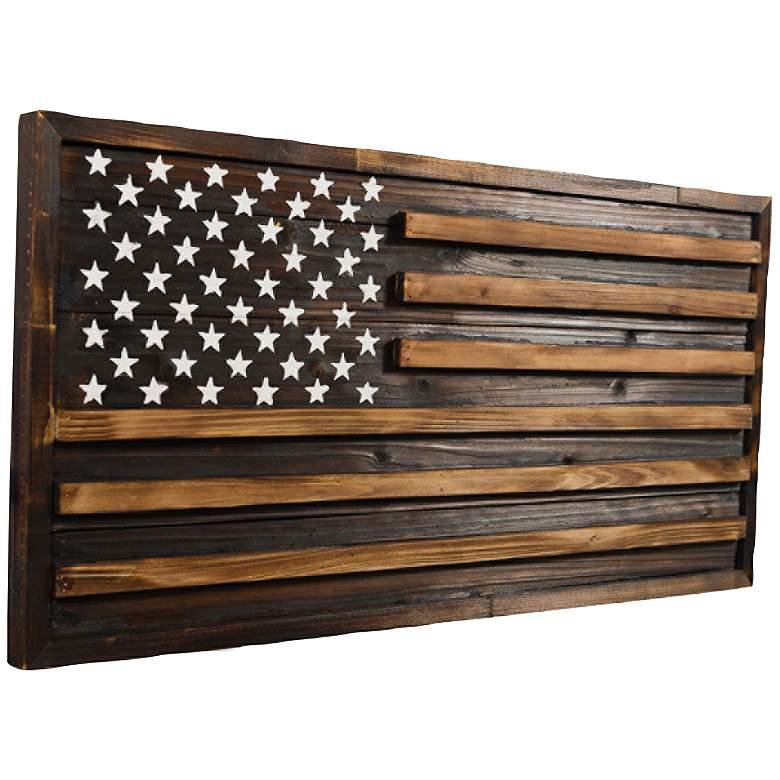 "Rustic Pine American Flag 32"" Wide Rectangular Wood Wall Art"