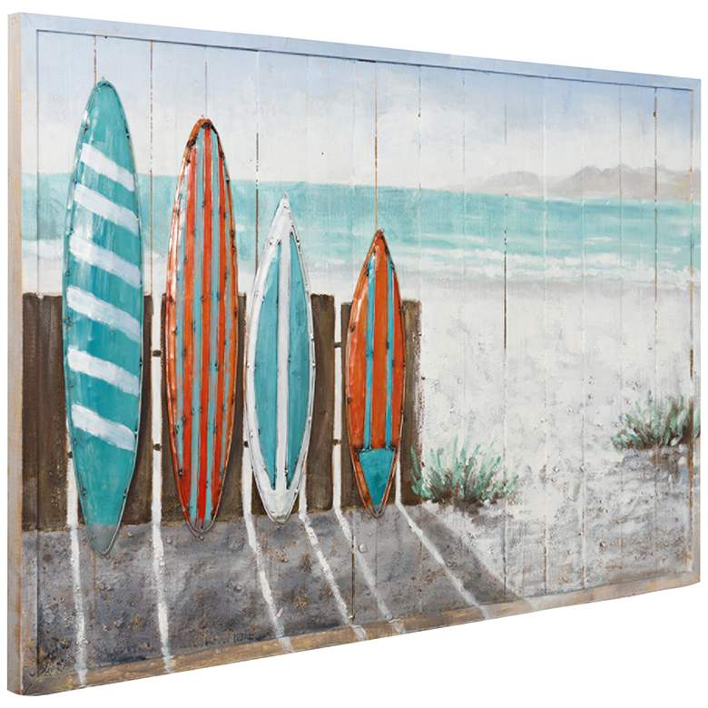 "Surfer's Paradise 48"" Wide Mix-Media Rectangular Wall Art"