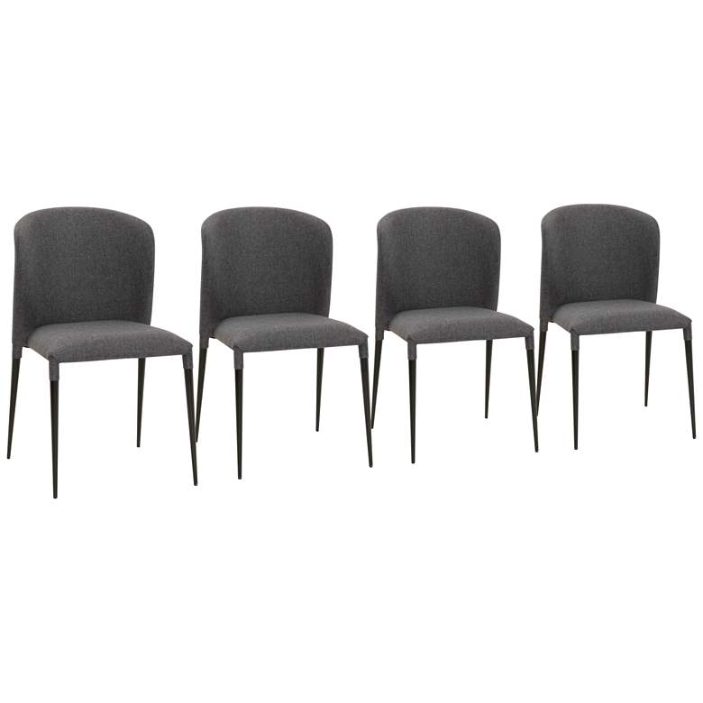 Dason Charcoal and Matte Black Dining Chairs Set of 4