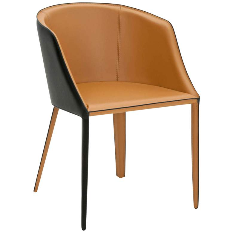 Fontana Two-Tone Saddle Bonded Leather Dining Chair
