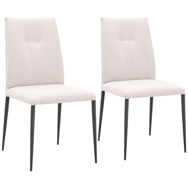 Drai Clay and Matte Dark Gray Tufted Dining Chairs Set of 2