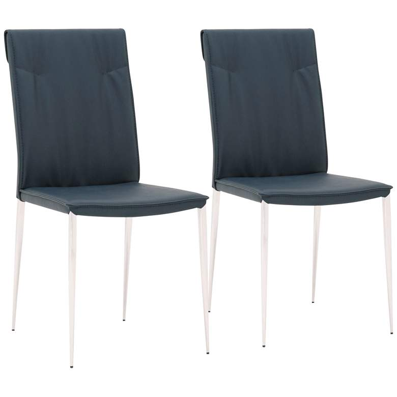 Lane French Navy Synthetic Leather Dining Chairs Set of 2