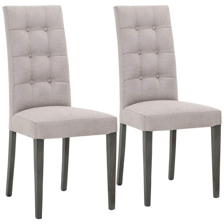 Noble Gray Fog Tufted Dining Chairs Set of 2