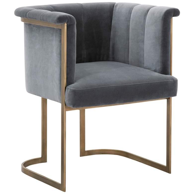 Bella Blush Gray Velvet and Brass Tufted Dining Chair