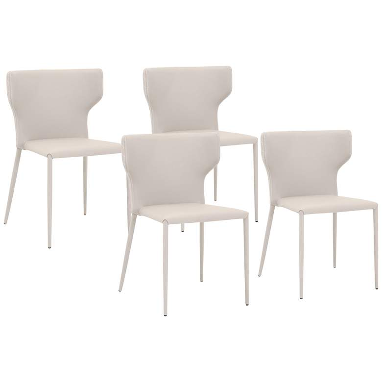 Hugo Buff Gray Synthetic Leather Dining Chairs Set of 4