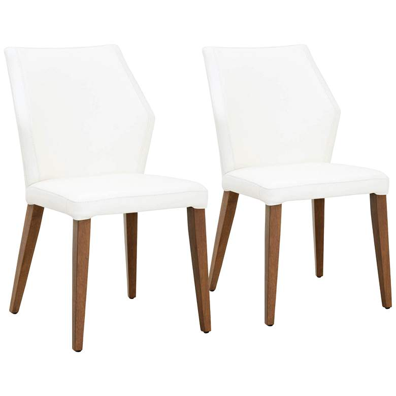 Aurora Alabaster Leather and Walnut Dining Chairs Set of 2