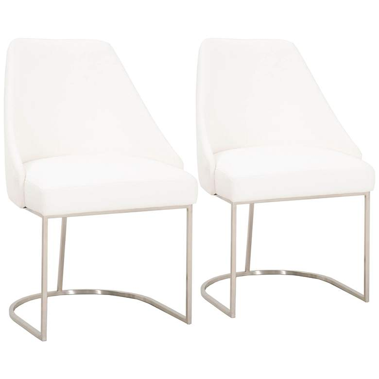 Parissa Peyton-Pearl w/ Brushed Steel Dining Chairs Set of 2