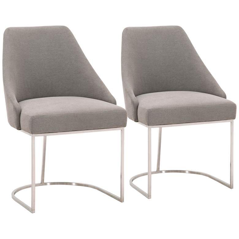 Parissa Peyton-Slate w/ Brushed Steel Dining Chairs Set of 2