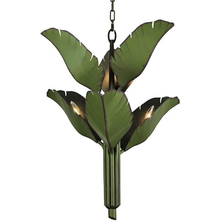 """Varaluz Banana Leaf 25"""" Wide Natural Green Metal Chandelier"""