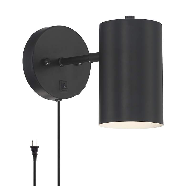 Carla Black Cylinder Pin-Up Wall Lamp with USB