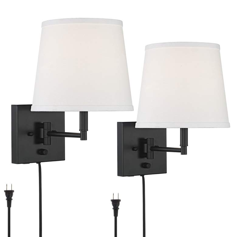 Lanett Black Plug-in Swing Arm Wall Lamp Set of 2 with USB Port