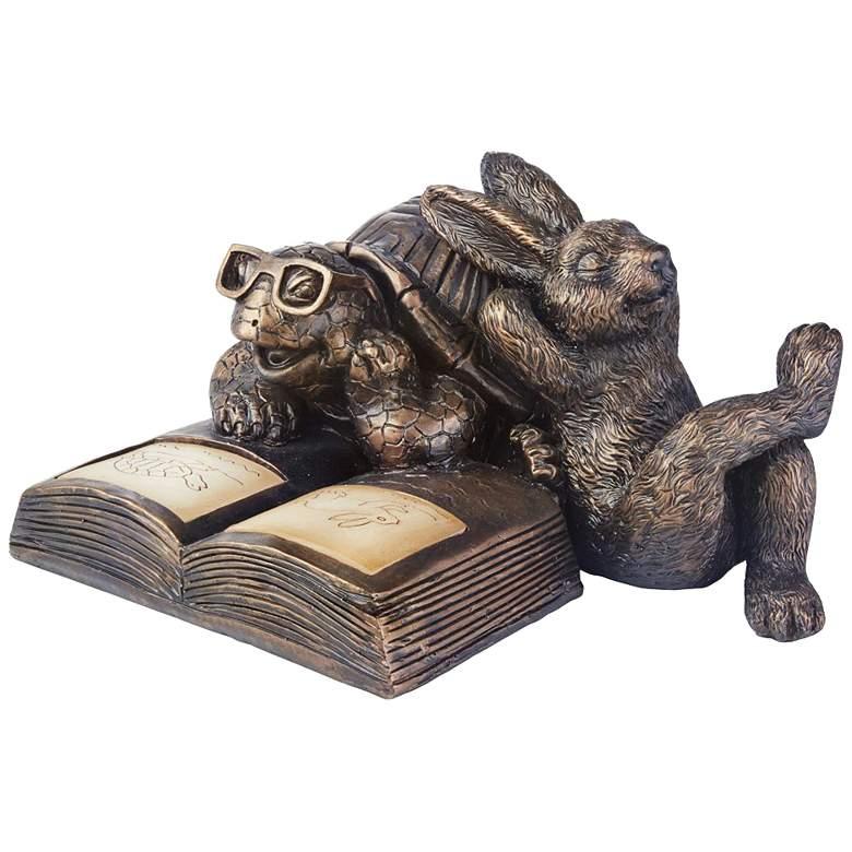 "Reading Tortoise and Hare 11 3/4""W Solar LED Garden Statue"