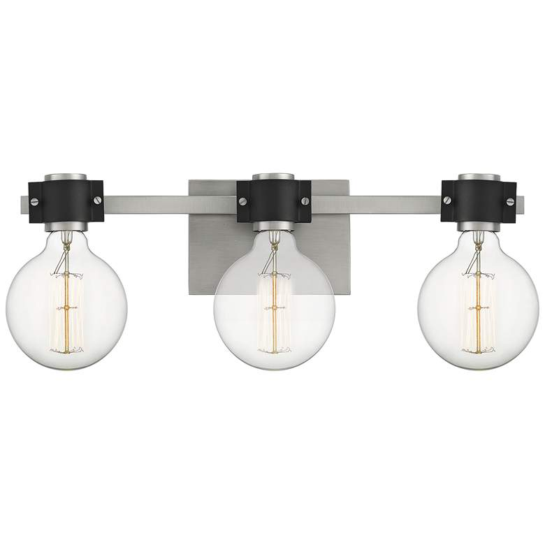 """Quoizel Curie 22"""" Wide Nickel and Black 3-Light Bath Light"""