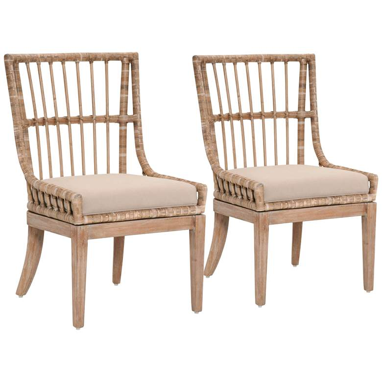 Playa Distressed Stone Pole Rattan Dining Chairs Set of 2