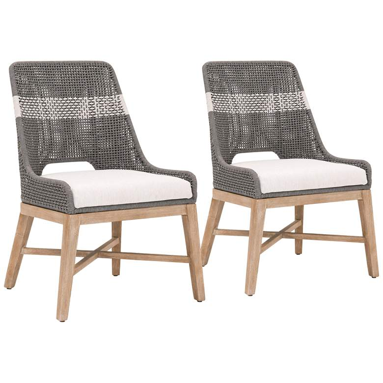 Tapestry Dove Flat and White Rope Dining Chairs Set of 2