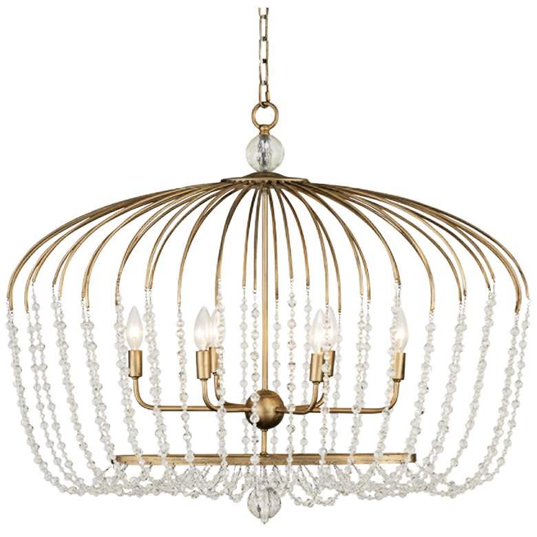 "Varaluz Voliere 36"" Wide Havana Gold 6-Light Pendant Light"