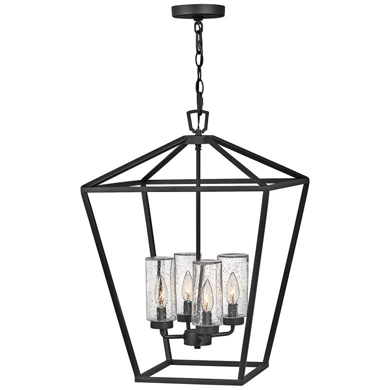 "Alford Place 17"" Wide Black 4-Light Outdoor Foyer Chandelier"