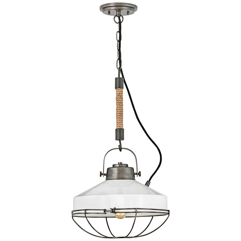 "Hinkley Brooklyn 14""W Burnished Bronze Metal Pendant Light"