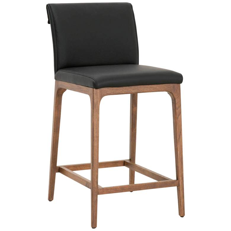 """Alex 26"""" Sable Leather and Walnut Counter Stool"""