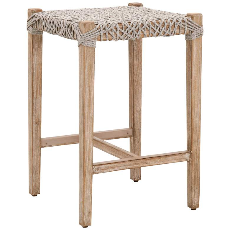 """Costa 25 1/2"""" Taupe White Rope and Gray Wood Counter Stool"""